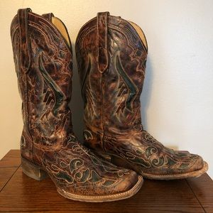Corral Vintage Whiskey & Teal Cutout Cowgirl Boots